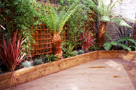 Hardwood raised planting beds